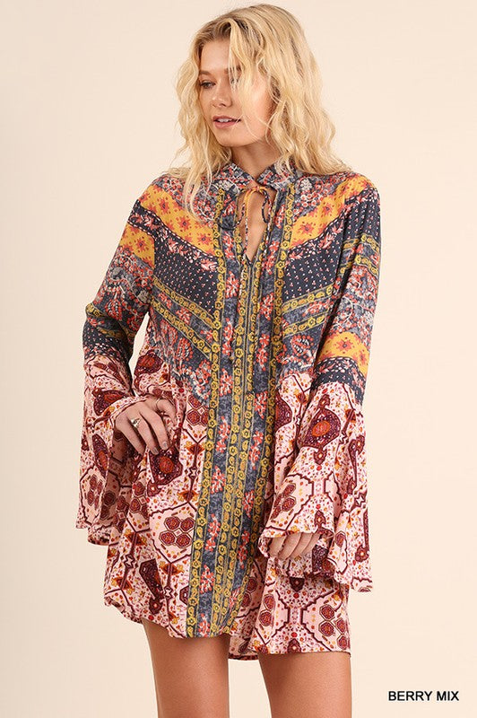 Multi-Print Trumpet Print Sleeve Dress