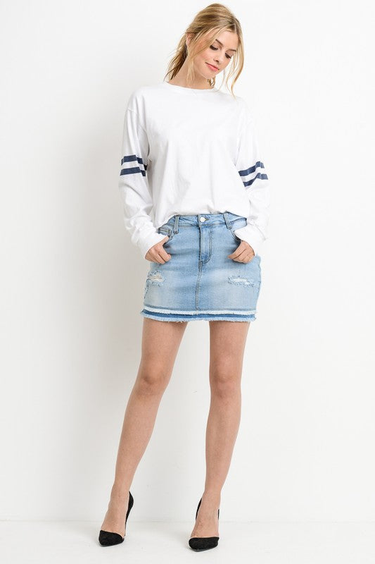 Double Layered Denim Skirt
