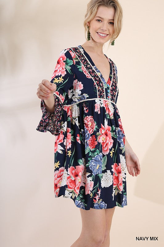 Navy Bell Sleeve Floral Dress