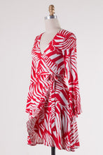 Red Palm Wrap Dress
