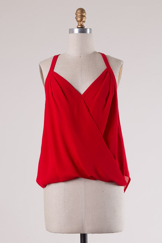 Red Asymmetrical Hem Top