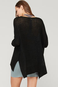Black Ribbon Yarn Sweater