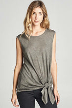 Olive Tie Front Sleeveless Top