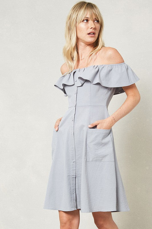 Cloud Ruffled Off Shoulder Dress