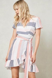 Striped Wrap Ruffled Dress