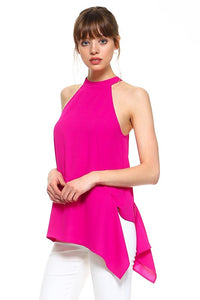 Magenta Asymmetrical Top
