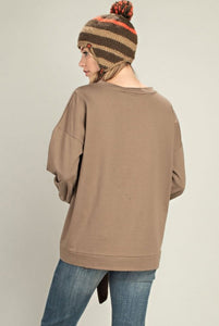 Front Tie Terry Sweatshirt 2 Color Choices