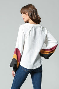 Ivory Color Block Sleeve Top
