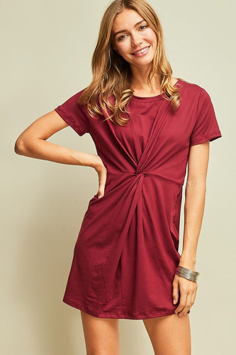 Wine Knotted Front Dress