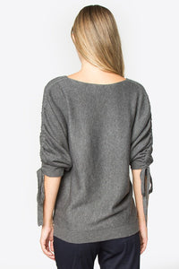 Grey Tie Sleeve Sweater