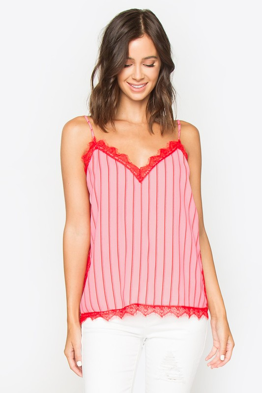 Red & Pink Lace Cami