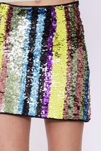Multi Striped Sequin Skirt