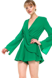 Green Surplice Draped Romper