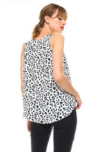 White Abstract Animal Print Top