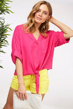 Summer Tie Front Tops-Fuchsia, Green, or Yellow
