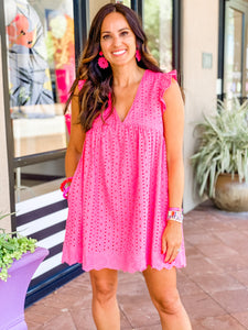 Eyelet Lace Romper- White or Hot Pink