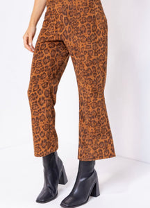 Leopard Cropped Flared Pants