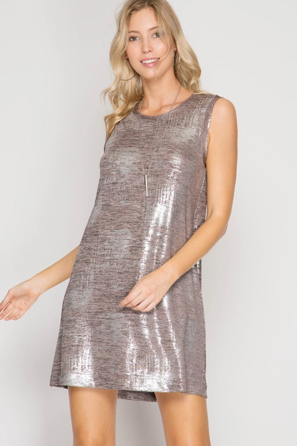 Rose Gold Metallic Shift Dress