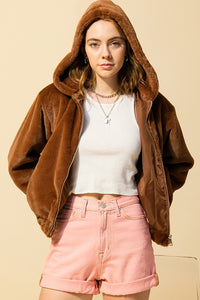Hooded Faux Fur Jacket- Hazelnut or Green