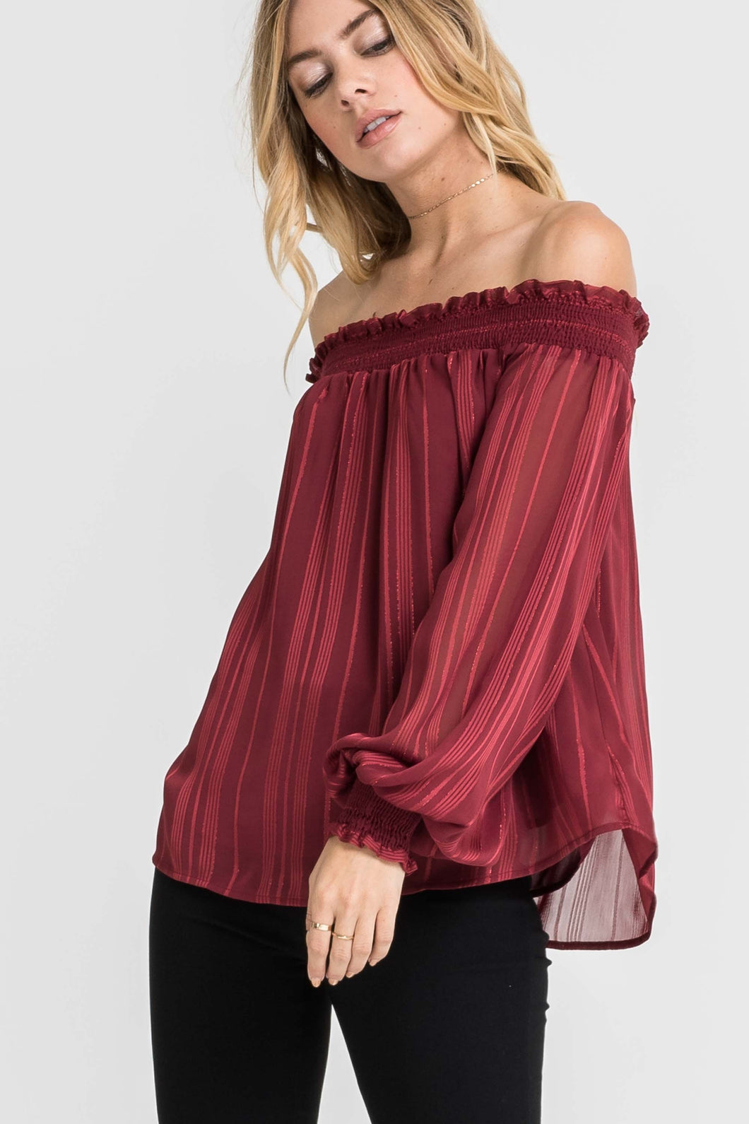 Off Shoulder Shiny Top