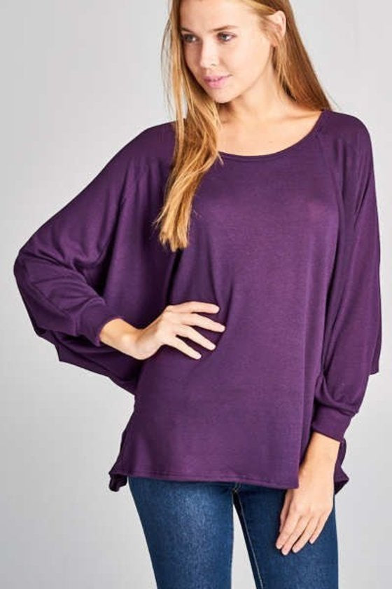 Purple Bat Wing Top