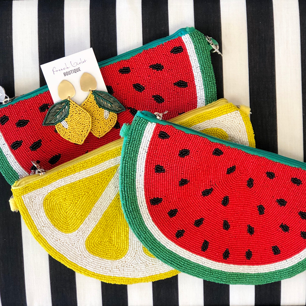 Lemon or Watermelon Beaded Bag