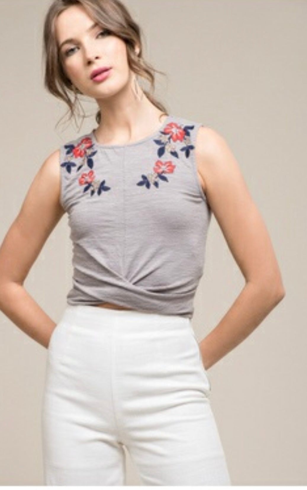 Grey Floral Trim Crop Top