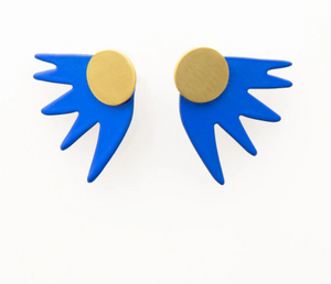 Burst Post Earrings - Cobalt, White, Gold