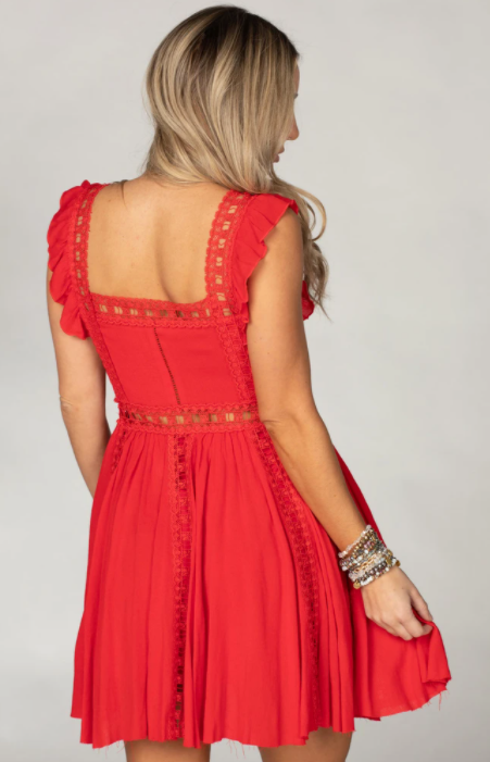 Laced Mini Dress - 2 Colors (Red or White)