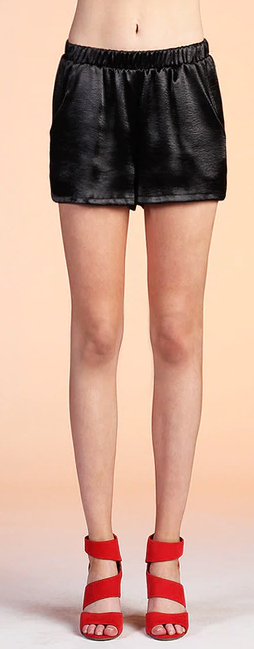 Black Liquid Satin Pocket Shorts