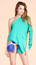 Green Slouchy One Shoulder Top