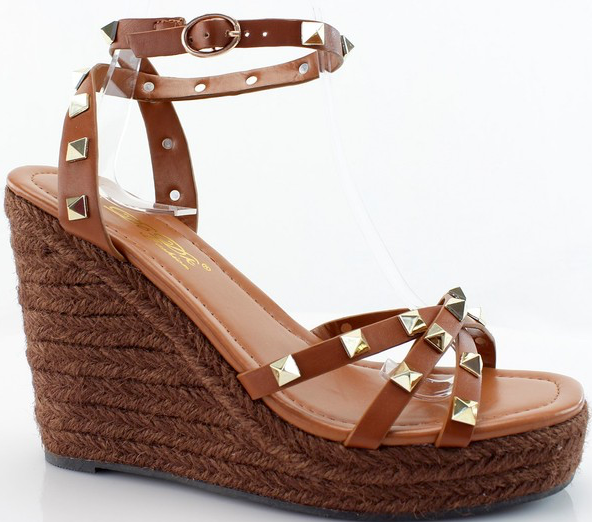 Cognac Studded Wedges