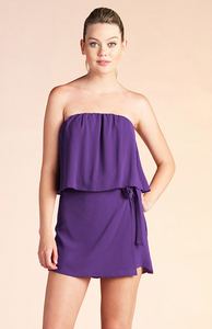 Strapless Side Tie Romper - Purple or Coral