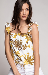 Mustard Tropical Floral Top