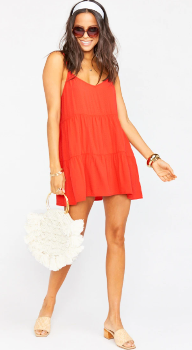 Caroline Fire Red Mini Dress