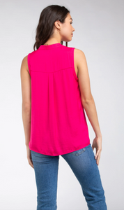 Sleeveless Top with Collar Detail