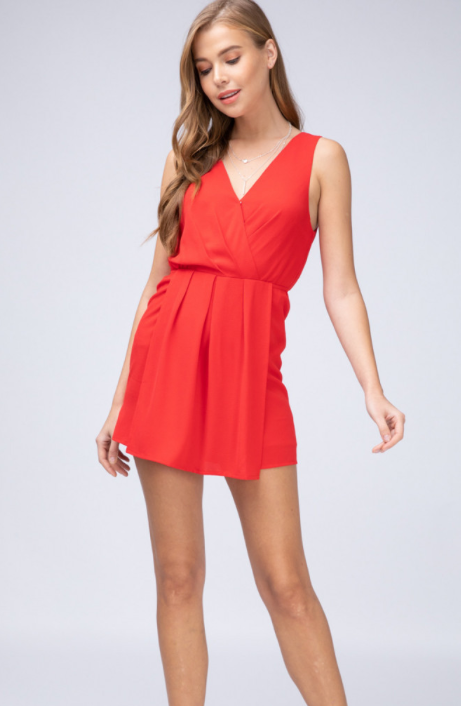 Surplice Romper- Royal Blue or Red