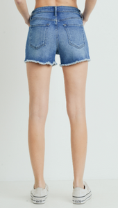 High Rise Denim Shorts w/Slit