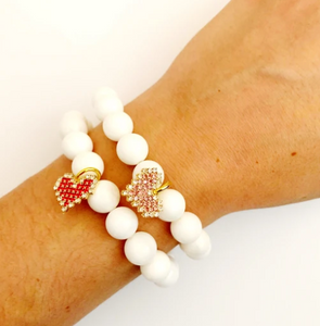 White Pearl Braclet w/Red Heart