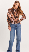 Brown Floral Pleated Top