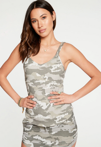QUADRABLEND RIB STRAPPY DOUBLE V SHIRTTAIL CAMI