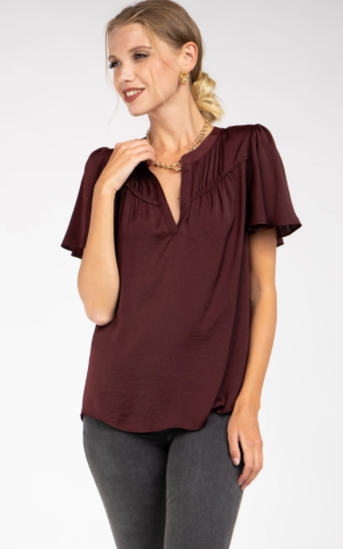 Short Sleeve Blouse w/Front Sheering Detail