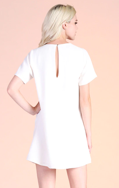White Crepe Shift Dress