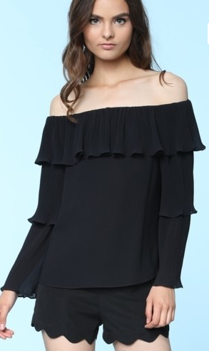 Black Trumpet Sleeve Top