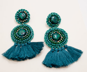 Green Beaded Tassel Earrings