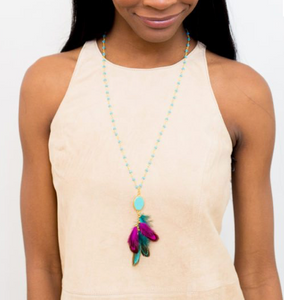 Stone & Feather Necklace