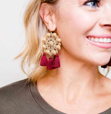 Burgundy Tassel Medallion Earrings