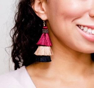 Burgundy Stacked Tassel Earrings