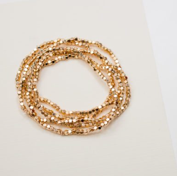 Gold Beaded Stretch Bracelets