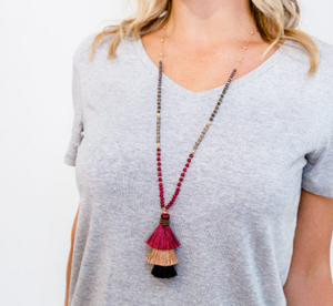 Burgundy Stacked Tassel Necklace